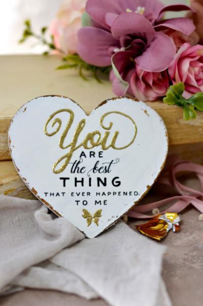 Inimioara magnet decorata cu auriu - You are the best thing