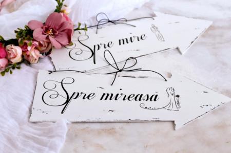 Set placute decorative sageti nunta ''Spre mireasa'' & ''Spre mire''