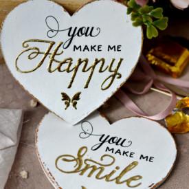 Set 2 inimioare magnet Valentine decorate cu auriu - You make me happy / smile