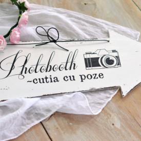 "Placuta decorativa sageata nunta ""Photobooth"""