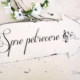 """Placuta decorativa sageata nunta """"Spre petrecere"""""""
