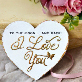 Inimioara magnet Valentine decorata cu auriu - I love You To the Moon and back