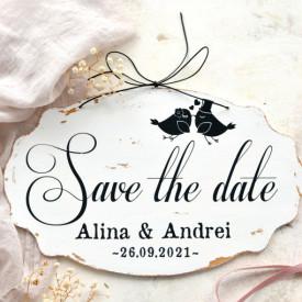 """Placuta ovala pentru nunta """"Save the date"""", personalizata cu nume si data nuntii"""