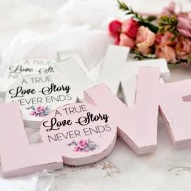 Decupaj litere 'Shabby Chic Love'' cu mesaj personalizat