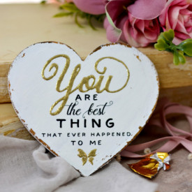 Inimioara magnet Valentine decorata cu auriu - You are the best thing