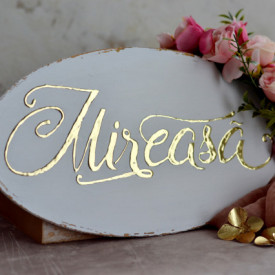 """Placuta ovala pentru nunta cu accente aurii """"Mireasa"""""""