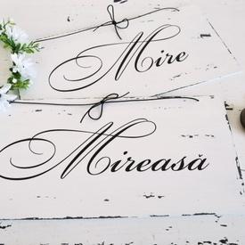 """Semne pentru nunta inscriptionate ''Mireasa"""" & ''Mire''"""