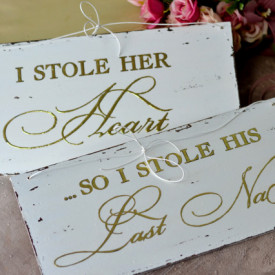 "Set placute cu accente aurii ''I stole her heart"" & "" I stole his last name"""