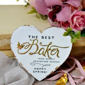 Inimioara magnet Valentine decorata cu auriu - The best baker