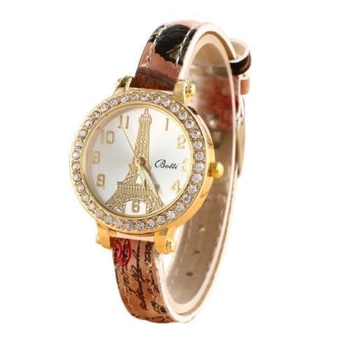 Ceas dama Eiffel Tower Crystals - Brown
