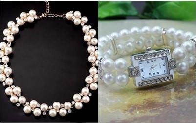 Set elegant, colier + ceas cu perlute