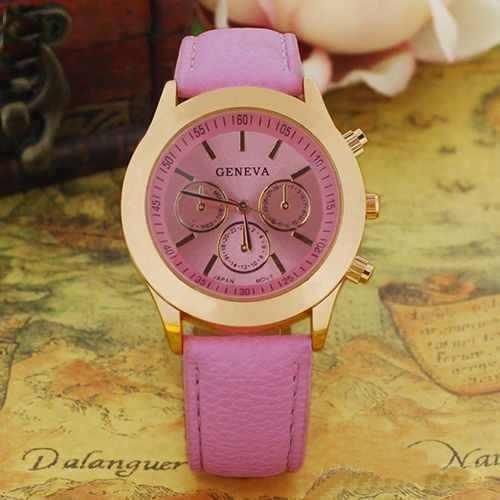 Ceas dama, Geneva, model cu auriu (roz)