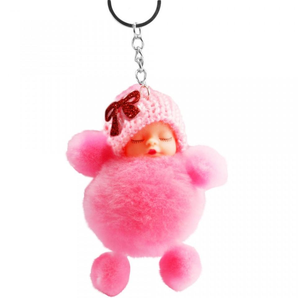 Papusica / bebelus dormind, accesoriu - roz