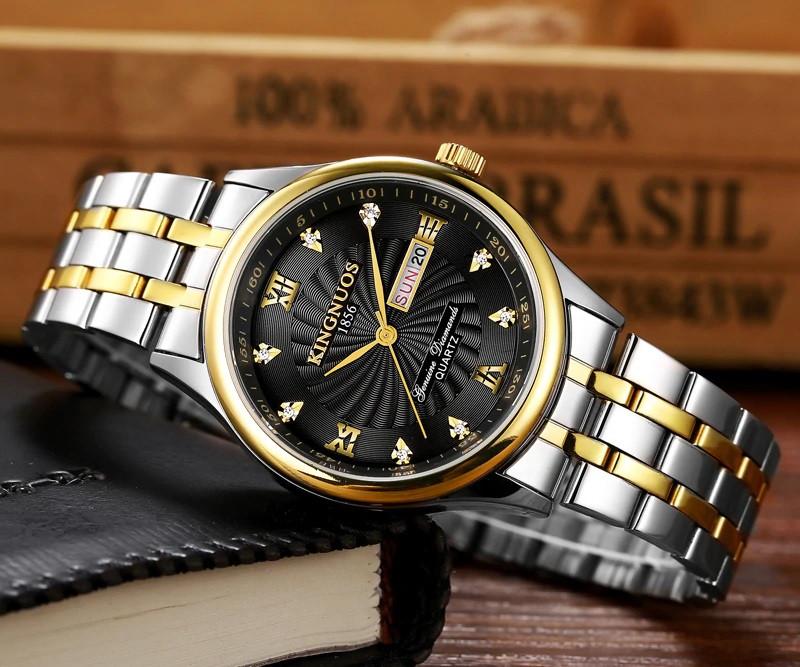 Ceas barbatesc de lux Kingnuos, cu data dubla, argintiu cu auriu si negru + cutie eleganta