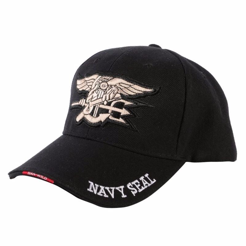 Sapca moderna cu broderie, Navy Seal si inchidere reglabila - negru cu alb