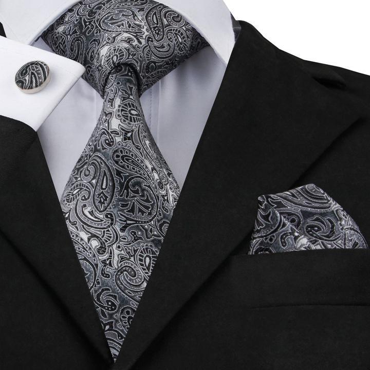 Set cravata + batista + butoni - matase naturala 100% - grey