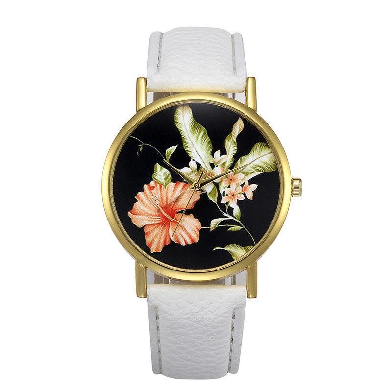 Ceas dama model flori exotice - alb
