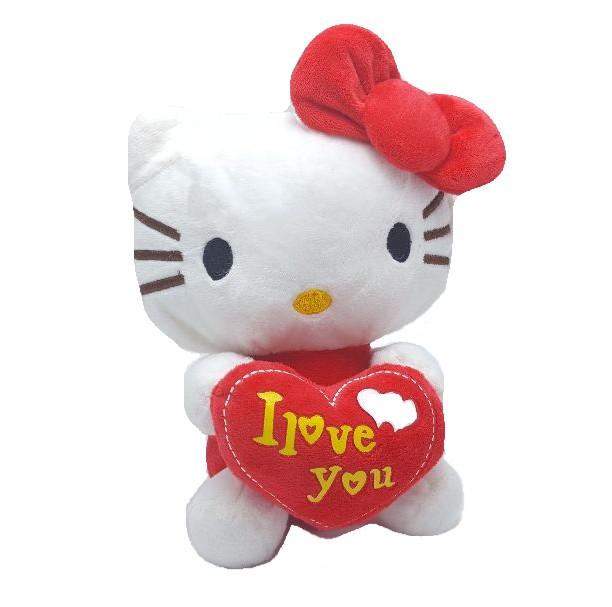 Figurina de plus, pisicuta cu inimioara si fundita - rosu