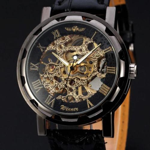Ceas barbatesc Full mecanic, Winner brand - Black & Gold + cutie cadou