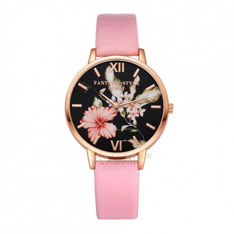 Ceas dama model flori exotice - roz