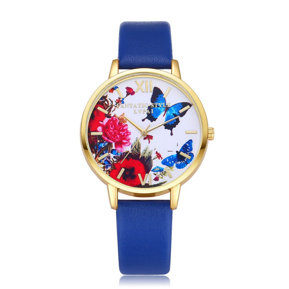 Ceas dama cu fluturi si maci - albastru