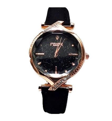 Ceas dama cu cristale, Francy Starry Sky, geam fatetat, negru