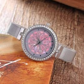 Ceas dama metalic, model floral - roz