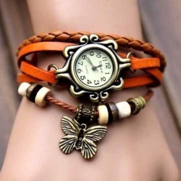 Poze Ceas dama pandant fluture - orange - Cadoulchic.ro