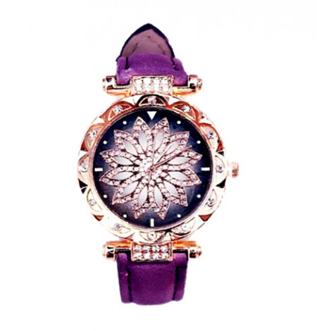 Poze Ceas dama Stylish Flower & Crystals, purple