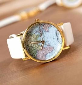 Ceas de dama modern ieftin cu harta lumii