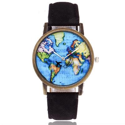 ceas vintage de dama cu harta lumii