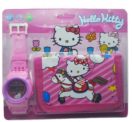 Poze Ceas pentru fetite cu portofel, tip Hello Kitty, model 1