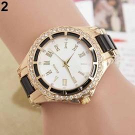 Poze Elegant ceas de dama, cu cristale, combinatie stilata de culori