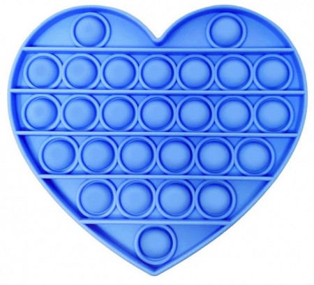 Poze Jucarie Pop It, antistres, forma inima, albastra, diametru 13 cm