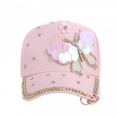 Poze Sapca dama, inchidere reglabila, design fluture, cu perlute si tinte, roz