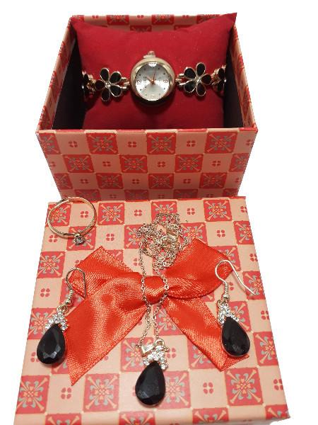 Poze Set cadou de Dama, Janine, cu ceas, cercei, colier si inel, Black & Golden