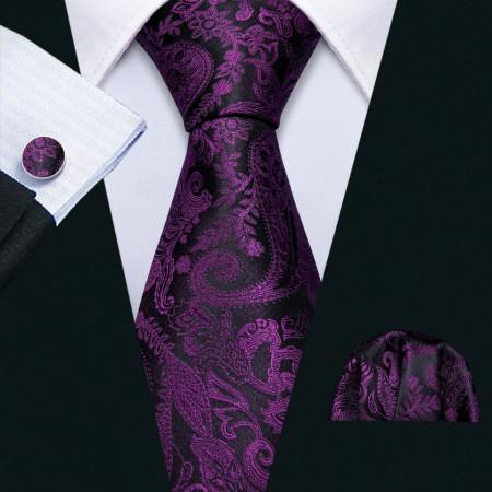 Poze Set cravata + batista + butoni - matase naturala 100% - model 13