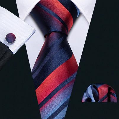 Poze Set cravata + batista + butoni - matase naturala 100%, tesatura Jaquard - model 16