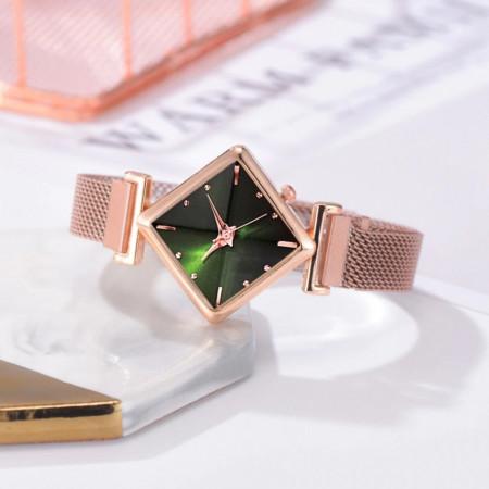 Poze Ceas dama elegant bratara magnetica, Rombus Style, green
