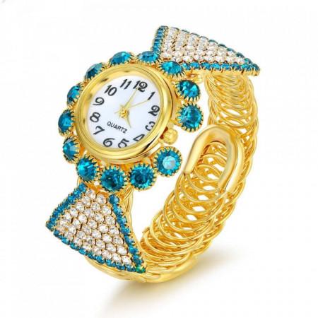 Poze Ceas dama elegant si stilat, cu cristale albe / lake blue