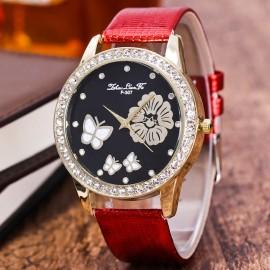Ceas dama - Floare, fluturi si cristale - rosu