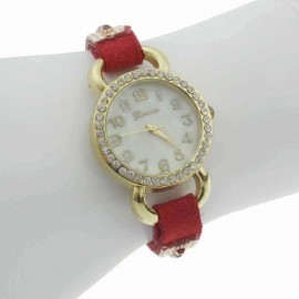 Ceas de dama, chic, cu cristale pe curea - rosu