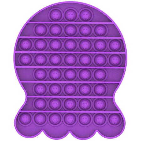 Poze Jucarie Pop It, antistres, forma caracatita mov, 14 x 13 cm