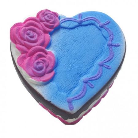 Poze Jucarie Squishy Jumbo, parfumata, model tortulet inima cu trandafiri, albastru