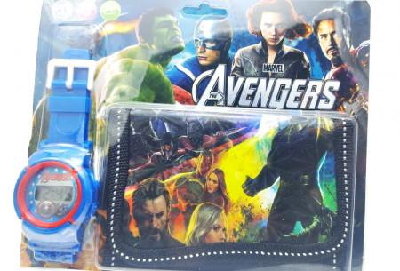 Poze Set Ceas pentru baietei cu portofel, tip Avangers