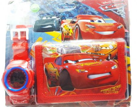 Poze Set Ceas pentru baietei cu portofel, tip Cars, model 2