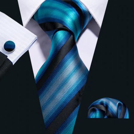 cravata matase naturala 100% la set cu batisata si butoni