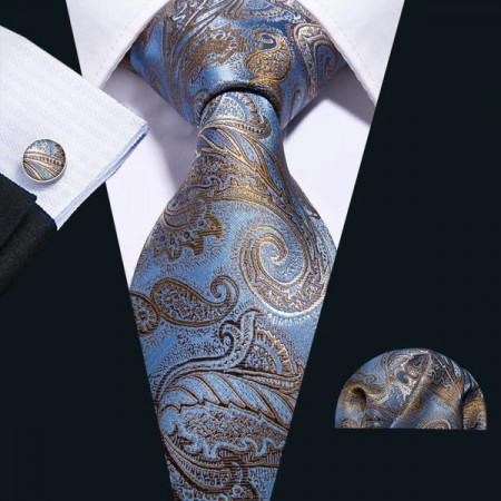 cravata matase naturala 100% cu batista si butoni