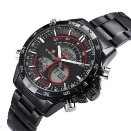 Poze Ceas barbatesc metalic dual-time Naviforce, NF9031M, Military / Sport