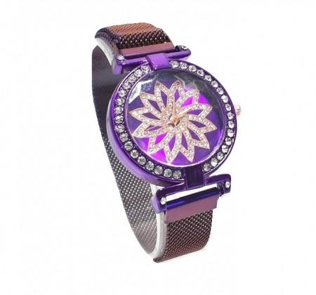 Poze Ceas dama cu bratara magnetica, Flowe & Crystals, purple